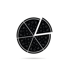 pizza black icon vector image