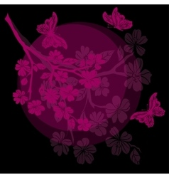 twig cherry blossoms and butterfly vector image