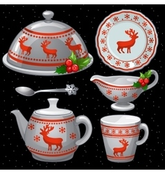 Cookware set for christmas feast six items vector