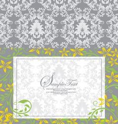 damask floral card vector image