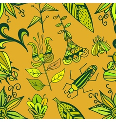 Seamless texture with bright ornaments vegetation vector image vector image