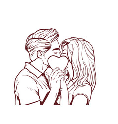 sketch beautiful couple kiss holding heart shape vector image
