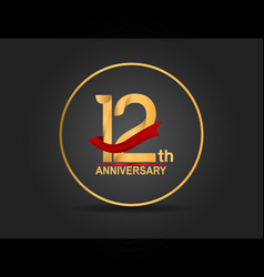 12 anniversary design golden color with ring vector