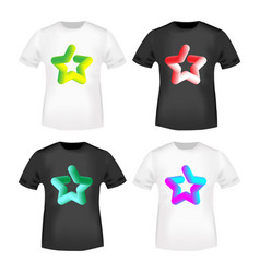 3d color star stamp and t shirt mockup vector image