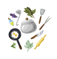 a set for cooking eggs greenery hand drawn on vector image