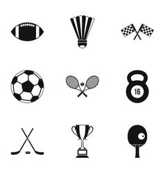 Accessories for training icons set simple style vector