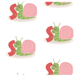 animal alphabet pattern with snail vector image