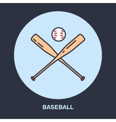 Baseball softball line icon Bats and ball vector