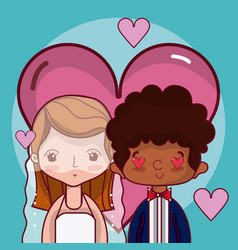 beeautiful wedding couple cartoon vector image