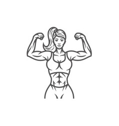 bodybuilder female silhouette isolated on white vector image