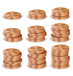bronze copper coins stacks silver finance vector image
