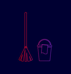 broom and bucket sign line icon with vector image
