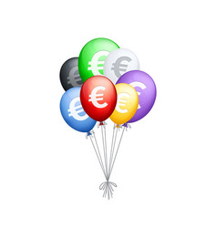 bunch of different colored balloons with euro vector image