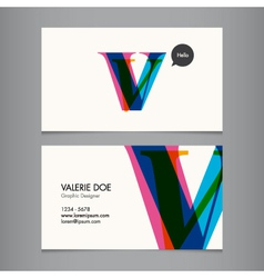 Business card template letter V vector image