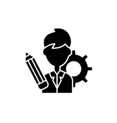 Business consultant black icon sign on vector