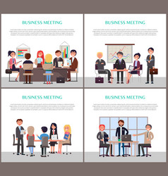Business meeting banners with office workers set vector