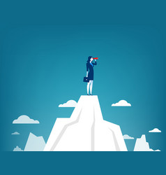 businesswoman standing on top of the mountain vector image