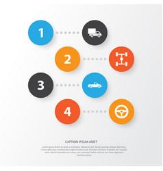 Car icons set collection of carriage wheelbase vector