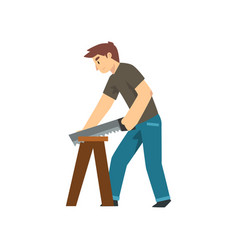 Carpenter sawing wood board male construction vector