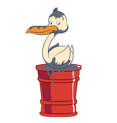 Cartoon seabird stained sitting on a barrel vector