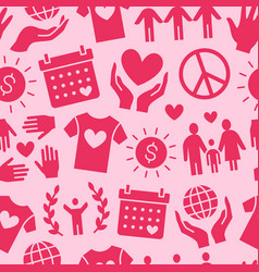 Charity seamless pattern with flat vector
