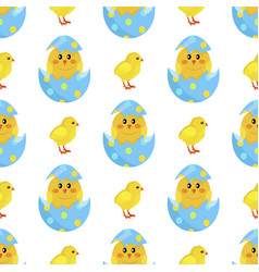 chicken and newborn chick hatch from shell vector image
