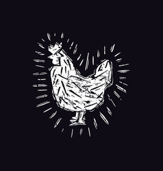 Chicken in linocut style vector