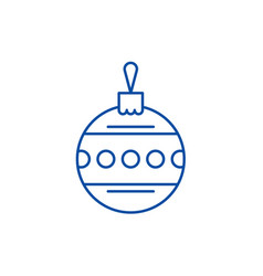 christmas ball with ornament line icon concept vector image
