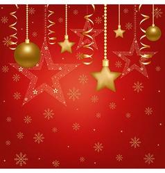Christmas Red Card With Christmas Balls And Star vector