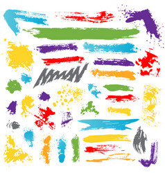 Collection colorful paint brush ink vector