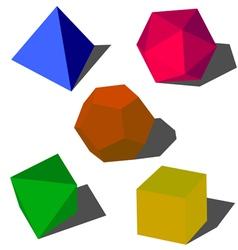 Colorful 3d geometric shapes vector
