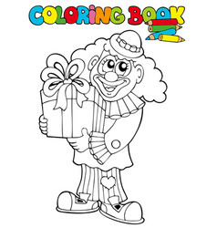 Coloring book with clown and gift vector