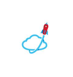 creative rocket cloud symbol logo vector image