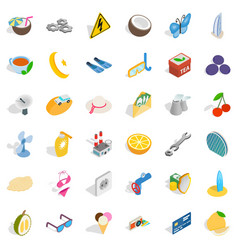Crescent icons set isometric style vector