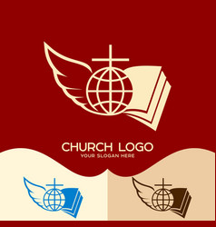 Cross of jesus open bible globe and angel wing vector