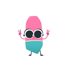 cute eraser cartoon character with peace hand vector image