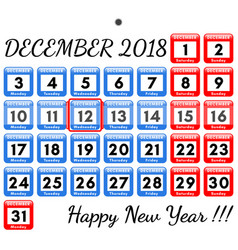 december 2018 template for the monthly vector image