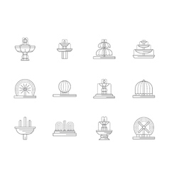 Decorative fountains flat line icons set vector image