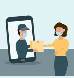 Delivery man brought parcel from smart phone vector