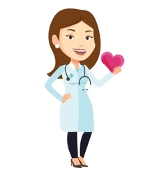Doctor cardiologist holding heart vector image