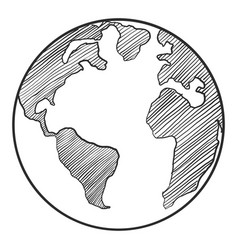 earth drawing on white background vector image