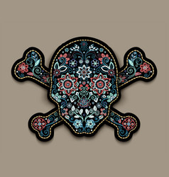 embroidery flower skull for fashion textile and vector image