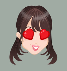 Emoticon asia girl love vector