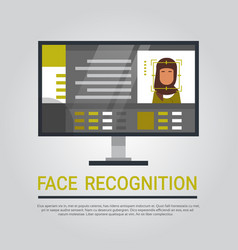 Face recognition technology computer scanning vector