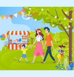 family mother and father with kid on festival vector image