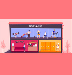Fitness club building composition vector