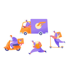 flat delivery courier cargo van scooter set vector image