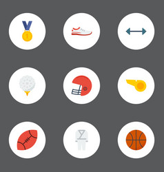 Flat icons rugby reward uniform and other vector