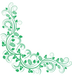 floral decorative corner green vector image