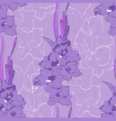 Flower seamless pattern from light purple gladiol vector